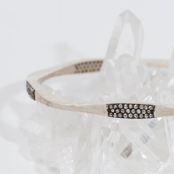 Sunshine-Gems-California-Collection-sterling-silver-bangle-bracelet-raw-diamonds