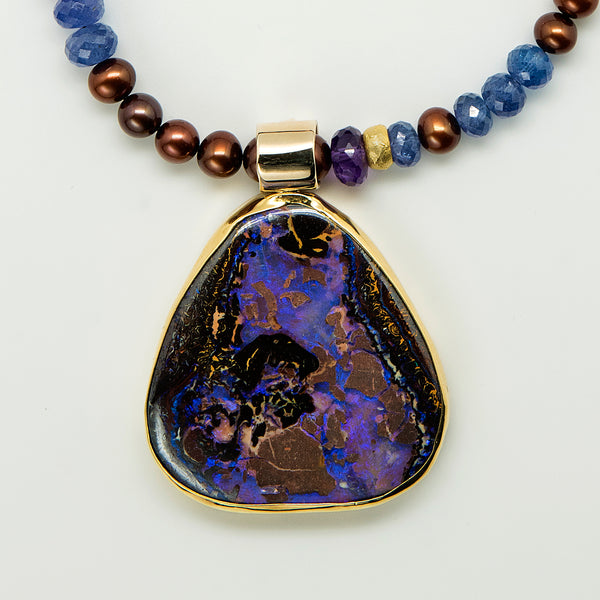 Jennifer-Kalled-koroit-opal-pendant-22k-18k-14k-gold-tanzanite-brown-pearls-kalled-gallery