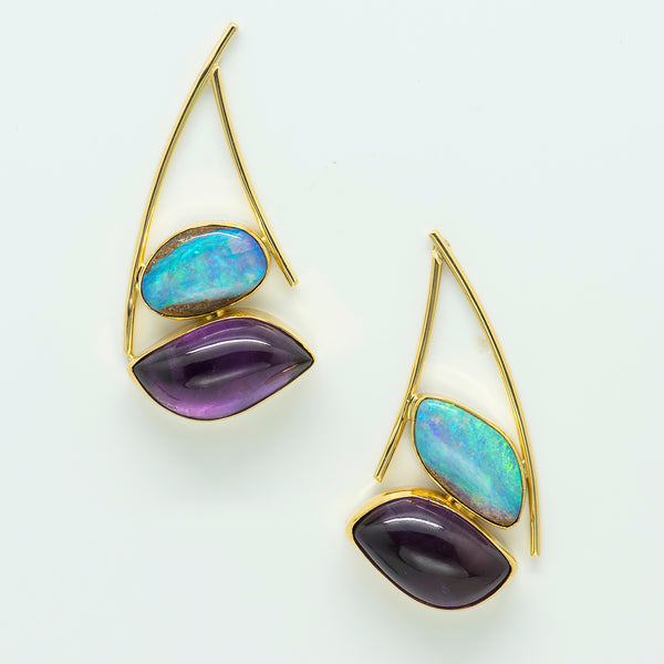 australian-boulder-opal-petrified-wood-amethyst-22k-18k-gold-earrings-Jennifer-Kalled