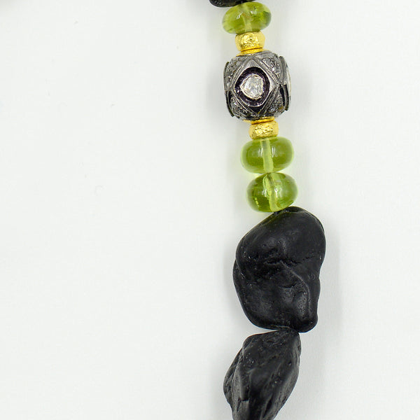 lava-rock-beaded-necklace-18k-gold-tourmaline-diamond-Jennifer-Kalled