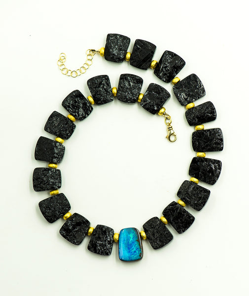opal-black-tourmaline-gold-bead-necklace-Jennifer-Kalled