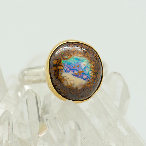 Australian Boulder Opal 22k and 18k gold Ring Size 8 Insurance & shipping included via Registered mail USPS within USA