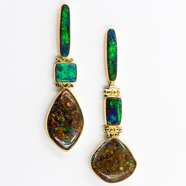 yowah-australian-boulder-opal-greens-post-earrings-22k-18k-14k-gold-Jennifer-Kalled
