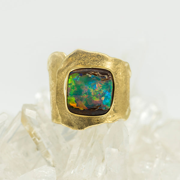 Jennifer-Kalled-Australian-boulder-opal-gold-ring-kalled-gallery