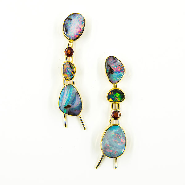 Jennifer-Kalled-australian-boulder-opal-red-sapphire-gold-post-earrings