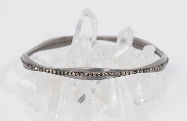 Sunshine-Gems-California-Collection-bangle-bracelet-oxidized-sterling-silver-raw-diamonds