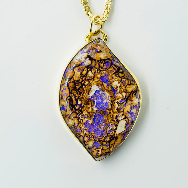 Koroit-opal-yowah-nut-pendant-purples-browns-Jennifer-Kalled