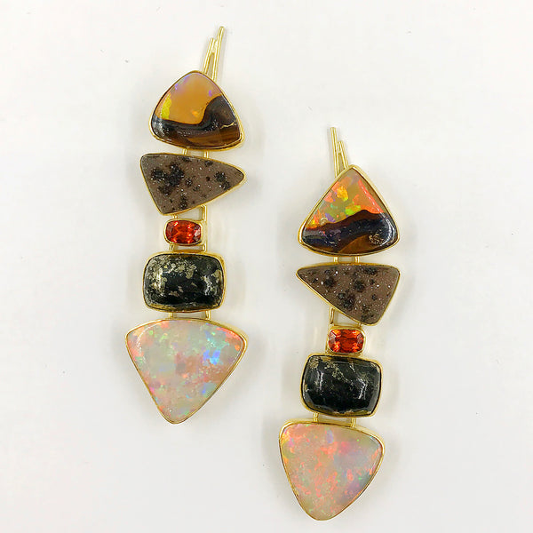 boulder-opal-firebrick-drusy-spessartite-gold-earrings-Jennifer-Kalled