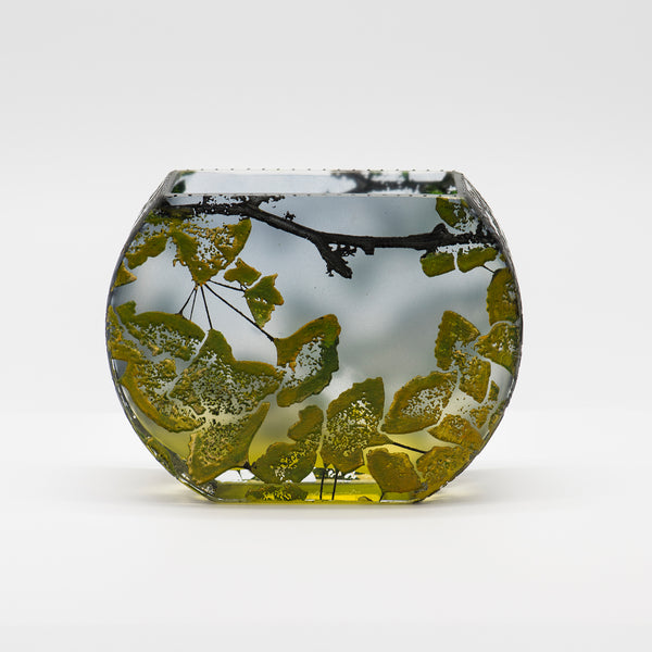 Mary-Melinda-Wellsandt-vase-fishbowl-ginkgo-green-glass-kalled-gallery