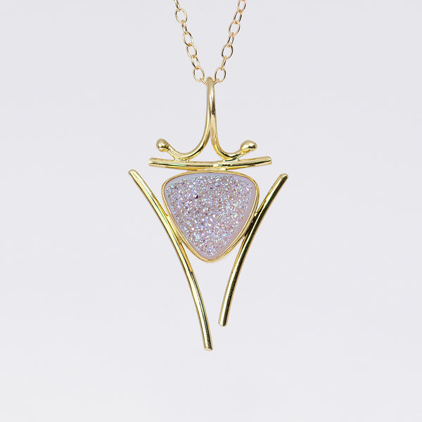 small-oriental-white-drusy-22k-18k-14k-gold-pendant-Jennifer-Kalled