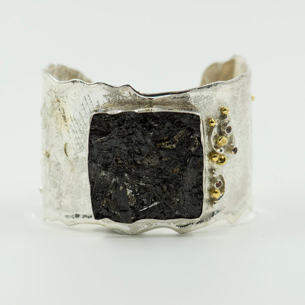 Black-tourmaline-zircon-gold-sterling-silver-cuff-bracelet-Jennifer-Kalled