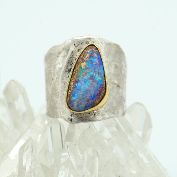 Jennifer-Kalled-australian-boulder-opal-ring-gold-silver-kalled-gallery