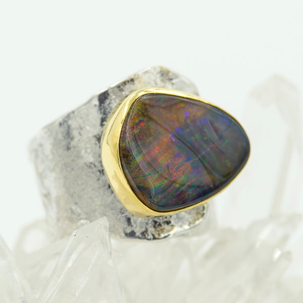 Boulder-Opal-sterling-22k-gold-wrap-ring-Jennifer-Kalled