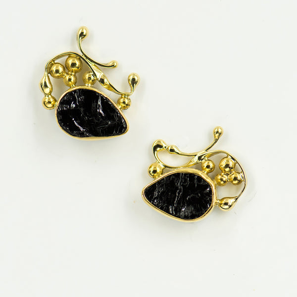 black-tourmaline-22k-18k-14k-gold-post-earrings-Jennifer-Kalled