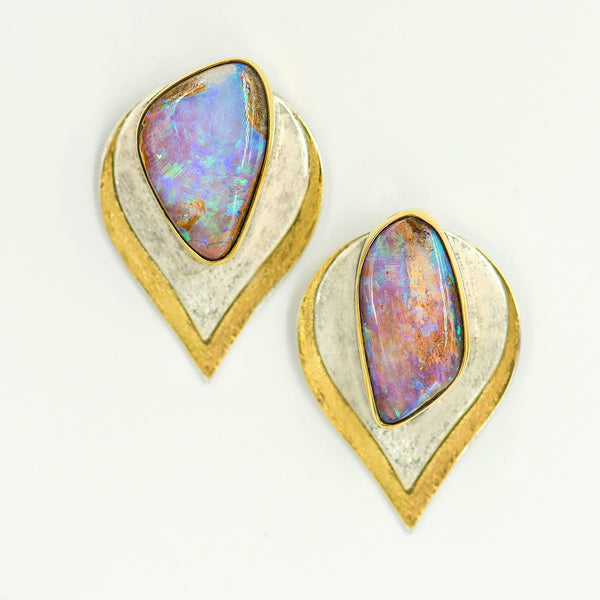 opal-australian-boulder-opal-bi-metal-22k-sterling-silver-layered-earrings-Jennifer-Kalled