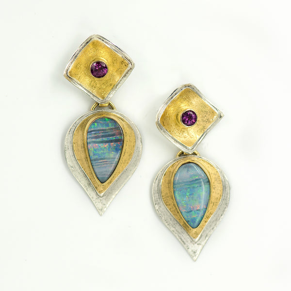 opal-australian-boulder-opal-bi-metal-grape-garnet-22k-sterling-silver-layered-earrings-Jennifer-Kalled