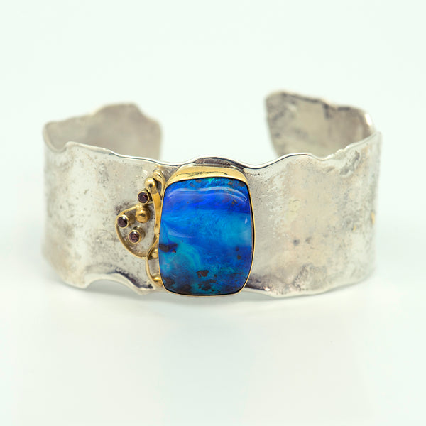 opal-sculpted-sterling-silver-22k-gold-zircon-cuff-bracelet-Jennifer-Kalled