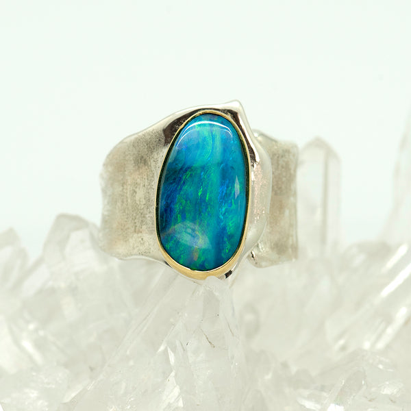 opal-sterling-silver-22k-gold-sculpted_ring-Jennifer-Kalled