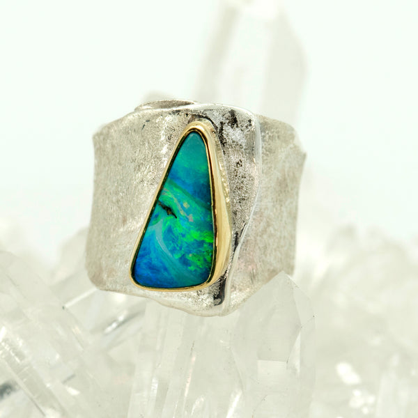 opal-sculpted-sterling-silver-22k-gold-ring-Jennifer-Kalled