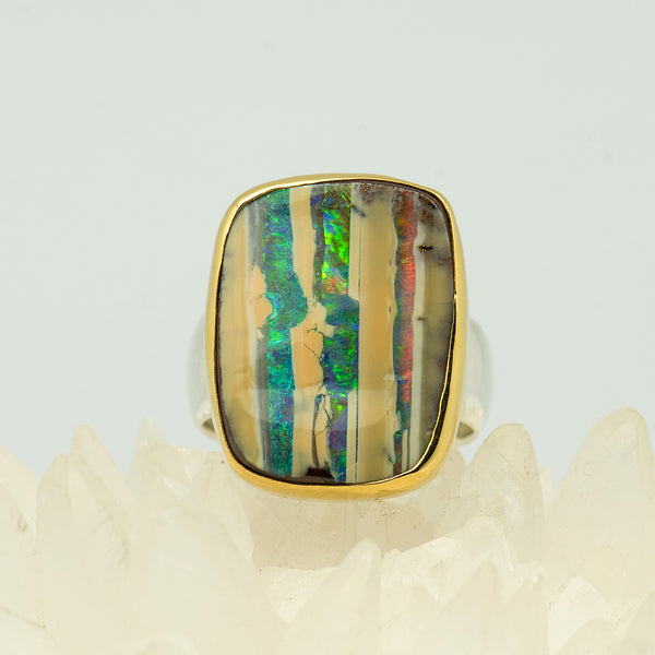 Jennifer-Kalled-Australian-boulder-opal-ring-22k-gold-sterling-silver