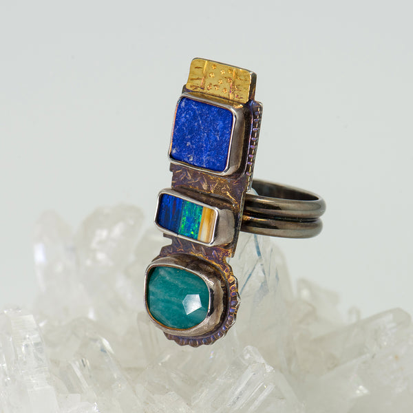 Julie-Shaw-ring-sterling-silver-22k-gold-opal-amazonite-lapis