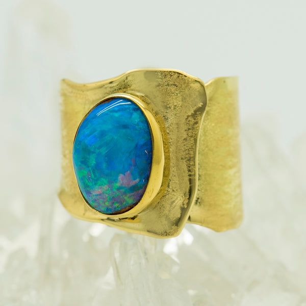opal-australian-boulder-opal-22k-18k-gold-sculpted-ring-Jennifer-Kalled
