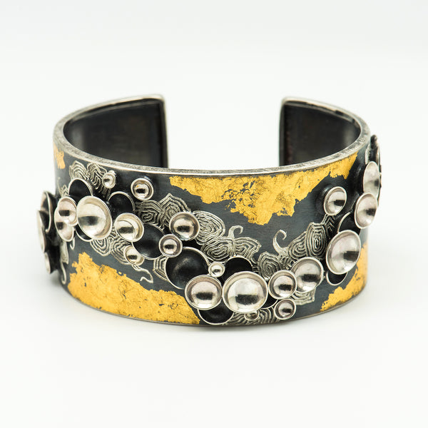 So-Young-Park-oxidized-sterling-silver-24k-gold-leaf-cuff-bracelet-kalled-gallery