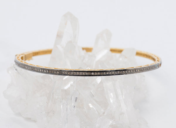 oxidized-sterling-silver-gold-diamond-bangle-bracelet-Taj-Company