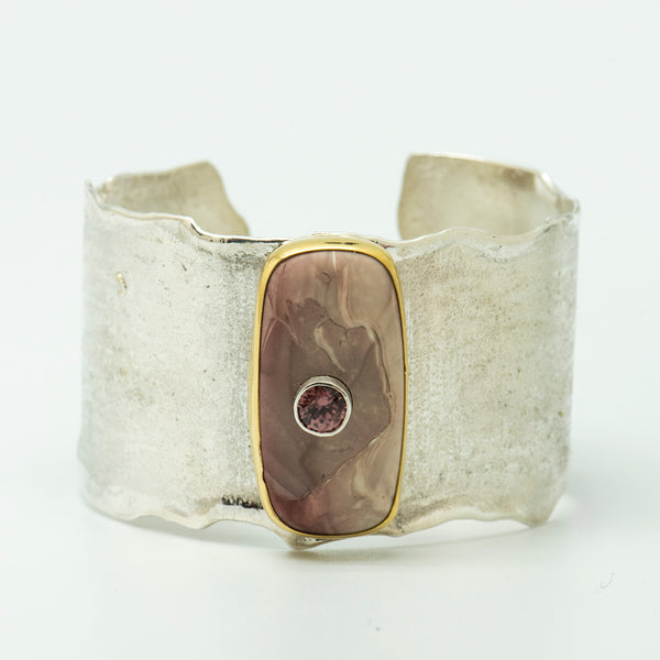 Jennifer-Kalled-willow-creek-jasper-zircon-22k-sterling-silver-cuff-bracelet
