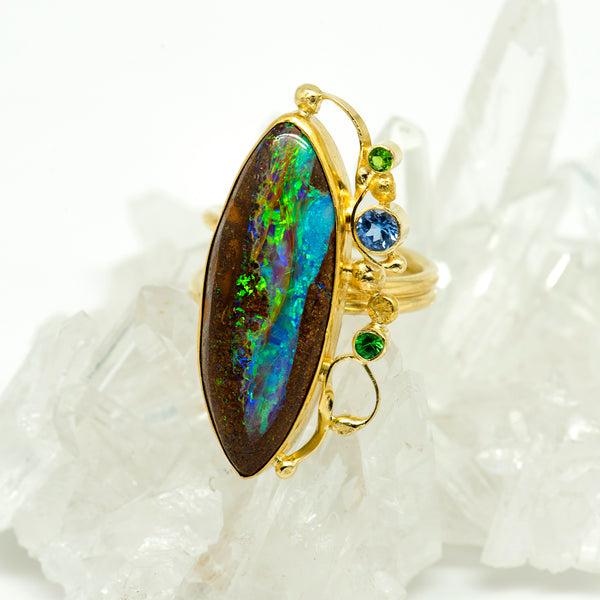 boulder-opal-petrified-wood-22k-18k-tanzanite-tsavorite-ring-Jennifer-Kalled