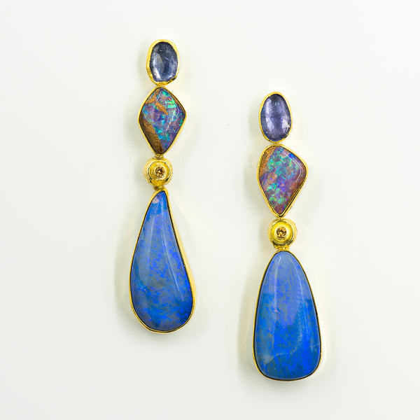 australian-boulder-opal-tanzanite-22k-18k-gold-post-earrings-Jennifer-Kalled