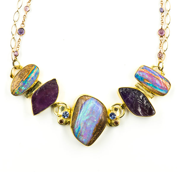 Australian-boulder-opal-22k-18k-14k-gold-necklace-Jennifer-Kalled