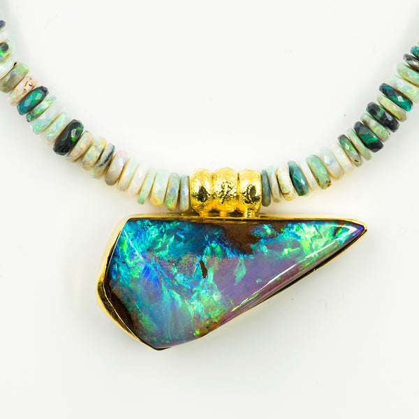 australian-boulder-opal-black-opal-beaded-necklace-18k-gold-beads-Jennifer-Kalled