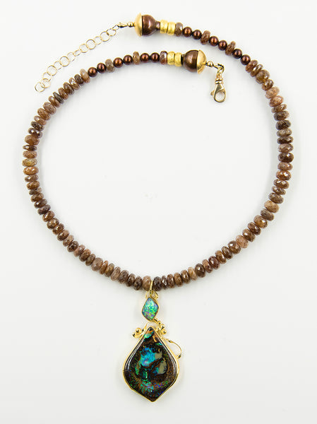 Australian-Koroit_boulder-opal-beaded-chain-22k-18k-14k-gold-pendant-necklace-Jennifer-Kalled