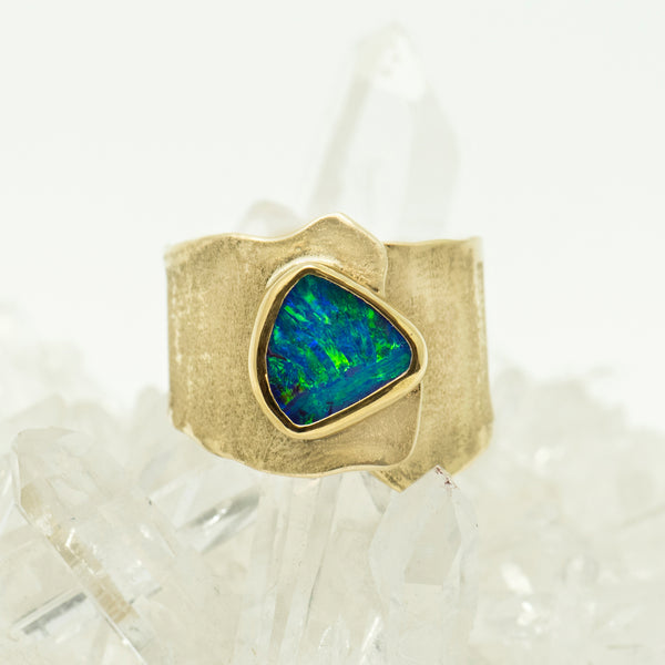 Jennifer-Kalled-australian-boulder-opal-22k-18k-melted-gold-ring