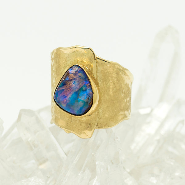 Jennifer-Kalled-opal-petrified-wood-melted-gold-ring