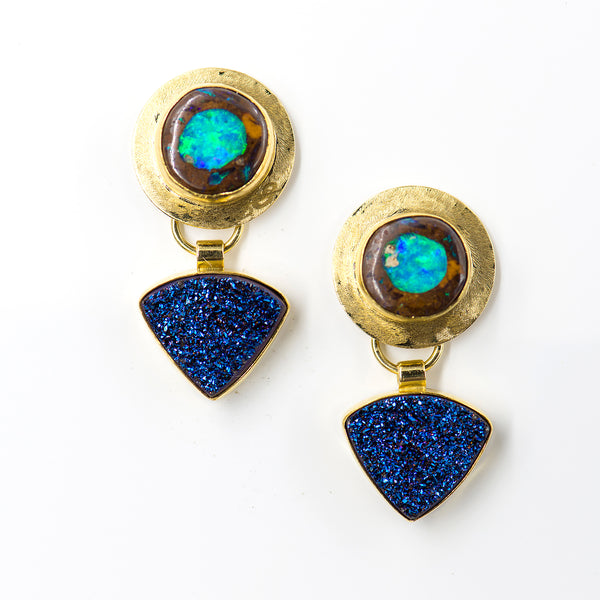 boulder-opal-drusy-gold-earrings-Jennifer-Kalled