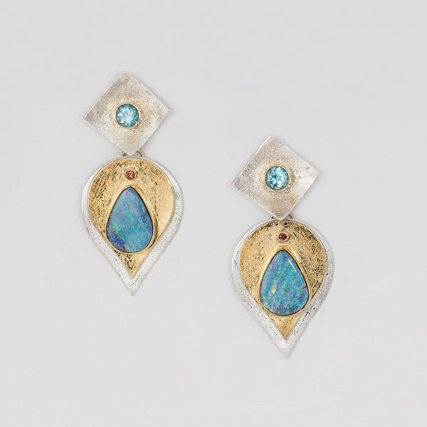 22k-18k-gold-bi-metal-boulder-opal-blue-topaz-earrings-Kalled