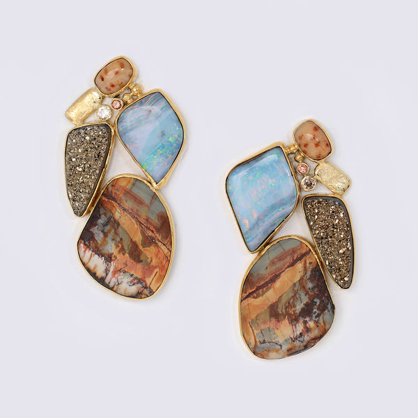 Boulder-opal-jasper-moonbeam-drusy-gold-Jennifer-Kalled-earrings