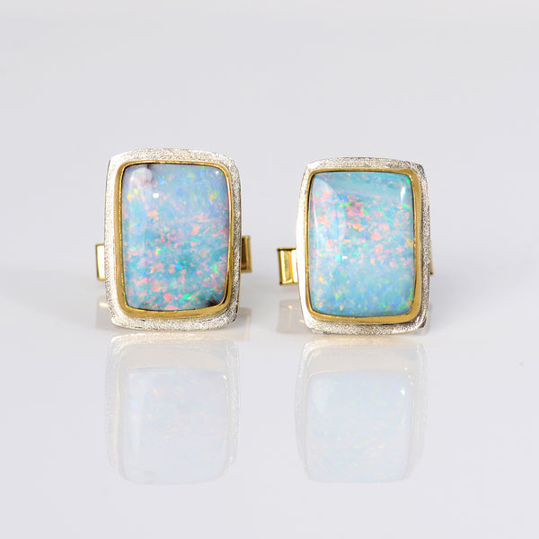 Boulder-opal-22k-gold-sterling-silver-cuff-links-Jennifer-Kalled