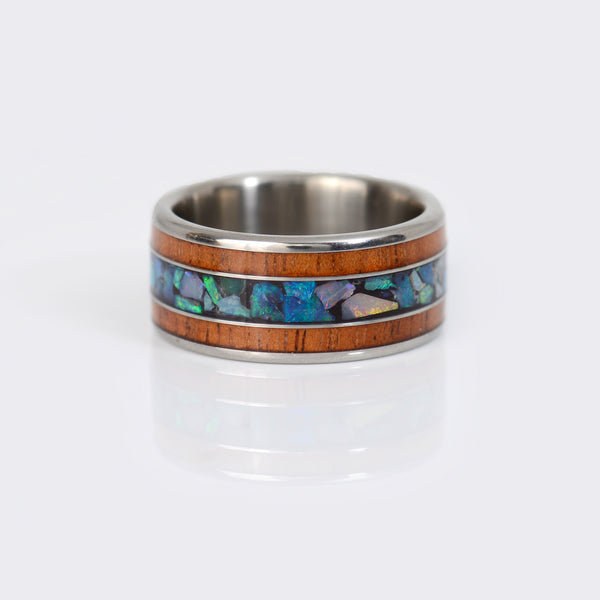 Hawaii-Titanium-Rings-wood-opal