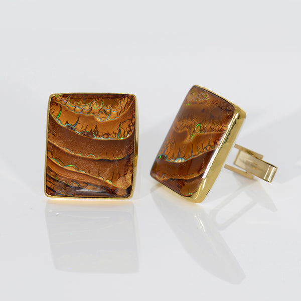 Boulder-opal-cuff-links-22k-gold-cuff-links-Jennifer-Kalled