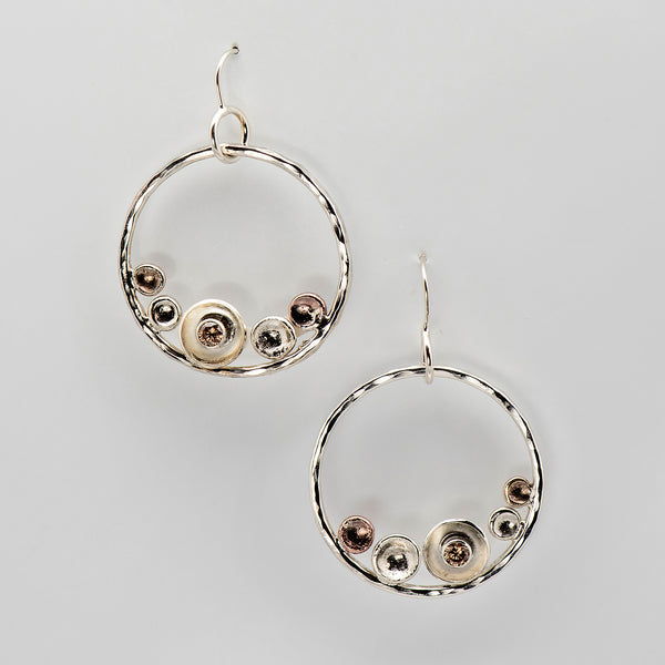 Tamara-Kelly-sterling-silver-hoop-wire-earrings-metal-discs-crystal-kalled-gallery