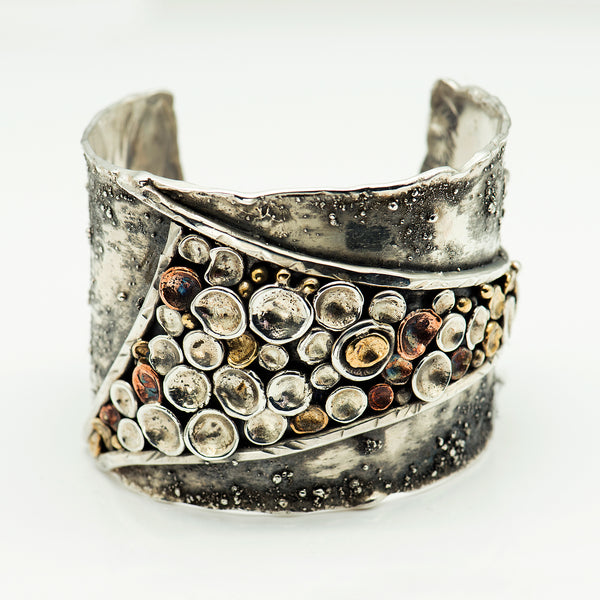Tamara-Kelly-oxidized-sterling-silver-wide-cuff-bracelet-discs-kalled-gallery