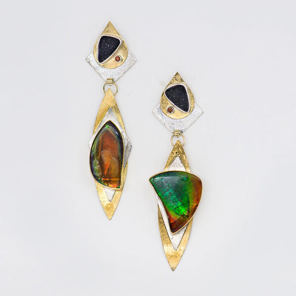 layered-hinged-boulder-opal-drusy-22k-18k-14k-gold-sterling-silver-earrings-Jennifer-Kalled