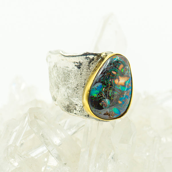 australian-boulder-opal-22k-gold-sterling-silver-ring-Jennifer-Kalled