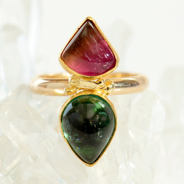 Jennifer-Kalled-pink-green-tourmaline-gold-ring