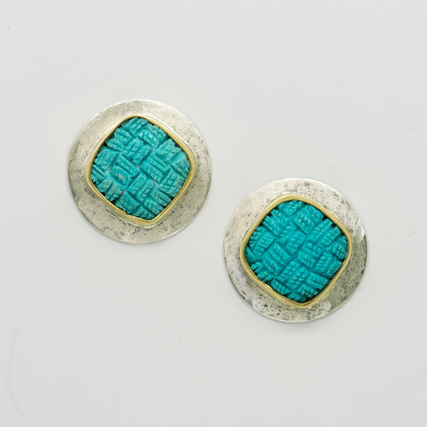 Jennifer-Kalled-sterling-silver-gold-turquoise-earrings