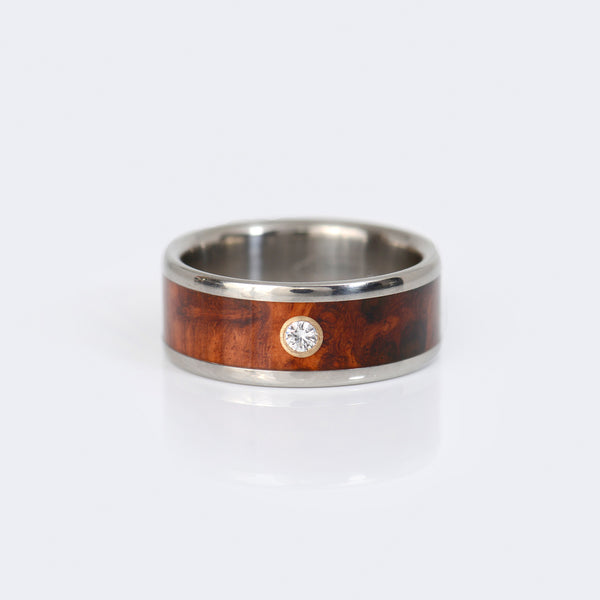Hawaii-Titanium-Ring-wood-diamond-14k-gold