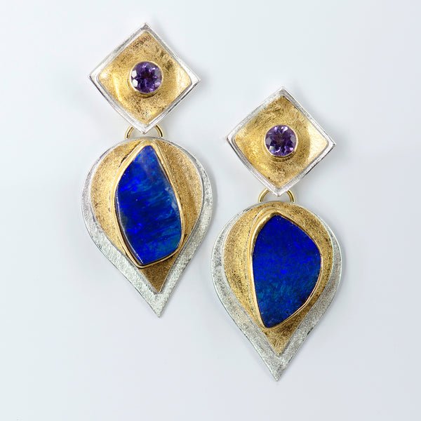 boulder-opal-amethyst-bi-metal-gold-silver-earrings-Jennifer-Kalled